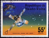 UPPER VOLTA - CIRCA 1976: A stamp printed in Upper Volta dedicated to Operation Viking Sur Mars, circa 1975. — Stock Photo