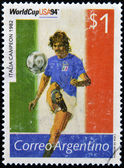 ARGENTINA - CIRCA 1994: Stamp printed in Argentina dedicated to the football world cup USA 1994, shows the world champion Italy, 1982, circa 1994 — Stock Photo