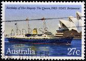 AUSTRALIA - CIRCA 1983: A Stamp printed in Australia shows the HMY Britannia, devoted to Queen Elizabeth II, 57th Birthday, circa 1983 — Stock Photo