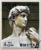 BHUTAN - CIRCA 1971: Stamp printed in Bhutan dedicated to History of Sculpture, shows David by Michelangelo, circa 1971 — Stock Photo
