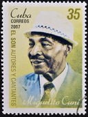 CUBA - CIRCA 2007: A stamp printed in cuba dedicated to authors and singers of Cuban son, shows Miguelito Cuni, circa 2007 — Foto Stock