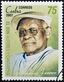 CUBA - CIRCA 2007: A stamp printed in cuba dedicated to authors and singers of Cuban son, shows Ibrahim Ferrer, circa 2007 — Stockfoto