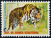 EQUATORIAL GUINEA - CIRCA 1974: Stamp printed in Guinea dedicated to endangered animals, shows Bengal tiger, Asia, circa 1974 — Stock Photo