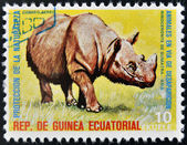 EQUATORIAL GUINEA - CIRCA 1974: Stamp printed in Guinea dedicated to endangered animals, shows Sumatran rhinoceros, Asia, circa 1974 — Stock Photo