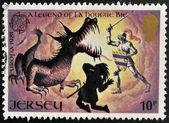 Maglia - circa 1981: francobollo stampato in jersey dimostra una leggenda di la hougue bie, intorno al 1994 — Foto Stock