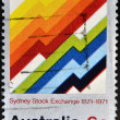 Royalty-Free Stock Photo: AUSTRALIA - CIRCA 1971: stamp printed in Australia, shows Symbolic Market Graphs, Sydney Stock Exchange, circa 1971