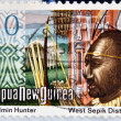 PAPUA NEW GUINEA - CIRCA 1980: A stamp printed in Papua shows Tifalmin Hunter and West Spok District, circa 1980 — Stock Photo