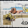 PORTUGAL - CIRCA 1977: A stamp printed in Portugal dedicated to resources beneath shows pyrite, circa 1977 — Stock Photo