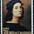 SAN MARINO - CIRC1974: stamp printed in SMarino shows image of Raphael, famous italipainter of high renaissance, circ1974 — Stok Fotoğraf #25206663