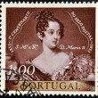 PORTUGAL - CIRCA 1953: A stamp printed in Portugal shows queen Maria II of Portugal, circa 1953 — Stock Photo