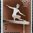 Stock Photo: SAN MARINO - CIRC1964: stamp printed in SMarino shows Womgymnast, 18th Olympic Games, Tokyo, circ1964
