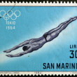 Stock Photo: SAN MARINO - CIRC1964: stamp printed in SMarino shows swimming, 18th Olympic Games, Tokyo, circ1964