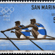 SAN MARINO - CIRCA 1964: A stamp printed in San Marino shows Dual Rowing, 18th Olympic Games, Tokyo, circa 1964 — Stock Photo