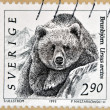 SWEDEN - CIRCA 1993: A stamp printed in Sweden shows Grizzly Bear, Ursus Arctos, circa 1993 — Stock Photo