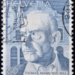 Foto Stock: SWITZERLAND - CIRC1978: stamp printed in Switzerland, shows Thomas Mann, circ1978