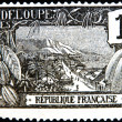 FRANCE - CIRCA 1917: A stamp printed in Guadeloupe shows Harbor at Basse-Terre, circa 1917 — Stock Photo