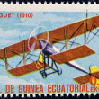 EQUATORIAL GUINEA - CIRCA 1974: A stamp printed in Guinea dedicated to history of aviation shows Breguet Type II, 1910, circa 1974 - Stock Photo
