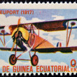 EQUATORIAL GUINEA - CIRCA 1974: A stamp printed in Guinea dedicated to history of aviation shows Nieuport 11,1917,  circa 1974 — Stock Photo