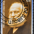 Stock Photo: DJIBOUTI - CIRC2008: stamp printed in Djibouti dedicated to Nobel Peace prizes French shows Frederic Passy, circ2008