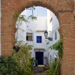 Stock Photo: Entry into Townhouses along typical whitewashed village street, Frigiliana, Spain