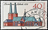 GERMANY- CIRCA 1973: stamp printed in Germany shows Lubeck Cathedral, circa 1973 — Stock Photo