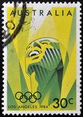 Australia - circa 1984: un sello impreso en australia muestra imagen de celebrar el 1984 verano juegos olímpicos en los ángeles, circa 1984 — Foto de Stock