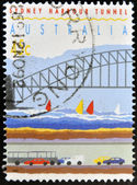 AUSTRALIA - CIRCA 1992: a stamp printed in Australia shows Sydney Harbor Bridge and Tunnel, circa 1992. — Foto Stock
