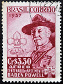 BRAZIL - CIRCA 1957: A stamp printed in Brazil shows Robert Baden-Powell (1857-1941), circa 1957 — Stock Photo