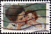 FRANCE - CIRCA 2006: A stamp printed in France shows image of Mother and Child by Mary Cassatt, the American artist, circa 2006 — Stock Photo