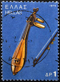 GREECE - CIRCA 1975: A stamp printed in Greece shows Cretan lyre, circa 1975 — Stock Photo