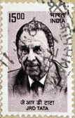 INDIA - CIRCA 1962: stamp printed in India shows J.R.D. Tata, circa 1962 — Stock Photo