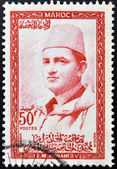 MOROCCO - CIRCA 1957: stamp printed in Morocco shows Sultan Mohammed V, circa 1957 — Stock Photo