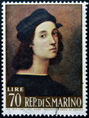 SAN MARINO - CIRCA 1974: A stamp printed in San Marino shows image of Raphael, famous italian painter of the high renaissance, circa 1974 — Stock Photo