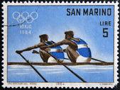 SAN MARINO - CIRCA 1964: A stamp printed in San Marino shows Dual Rowing, 18th Olympic Games, Tokyo, circa 1964 — Stock Photo