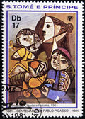SAO TOME E PRINCIPE - CIRCA 1981: A stamp printed in Sao Tome shows draws by artist Picasso - Fracoise, Claude e Paloma, 1905, circa 1981 — Stock Photo