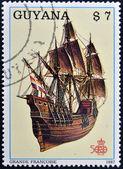 GUYANA - CIRCA 1987: A stamp printed in Guyana shows ancient marine ship, Grant French, circa 1987 — Stock Photo