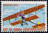 EQUATORIAL GUINEA - CIRCA 1974: A stamp printed in Guinea dedicated to history of aviation shows Breguet Type II, 1910, circa 1974 — Stock Photo