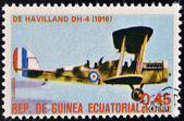 EQUATORIAL GUINEA - CIRCA 1974: A stamp printed in Guinea dedicated to history of aviation shows Havilland DH-4, 1916, circa 1974 — Stock Photo