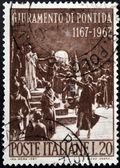 Itália - circa 1967: selo impresso na itália mostra pontida juramento de giovanni berchet, circa 1967 — Foto Stock