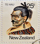 Nuova zelanda - intorno al 1980: un timbro stampato in nuova zelanda dimostra il capo maori te hau-todi filippo, intorno al 1980 — Foto Stock