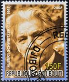 DJIBOUTI - CIRCA 2008: stamp printed in Djibouti dedicated to Nobel Peace prizes French shows Albert Schweitzer, circa 2008 — Stock Photo