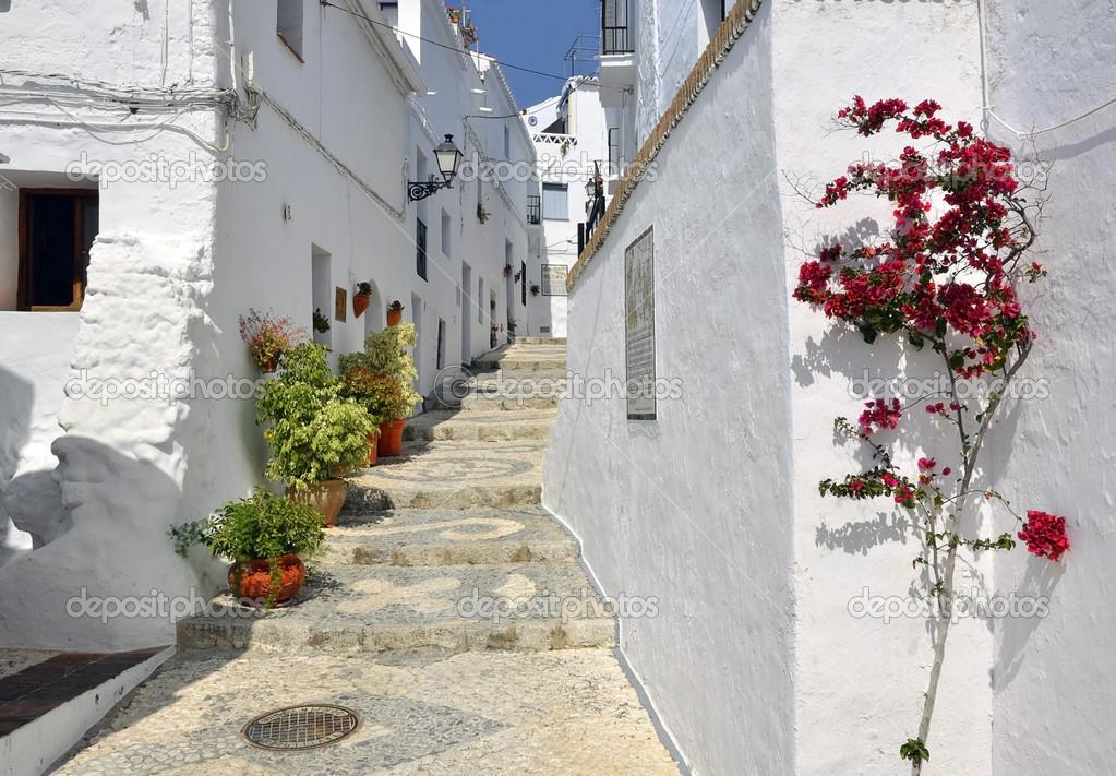 Maisons le long d 39 un typiques blanchies la chaux rue du for Poutres blanchies a la chaux