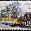 AUSTRALIA - CIRCA 1989: A stamp printed in Australia shows Adelaide horse tram, 1878, circa 1989 — Stock Photo
