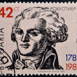 Stock Photo: BULGARI- CIRC1989: stamp printed in Bulgaridedicated to Maximilien Robespierre, French lawyer and politician, circ1989.