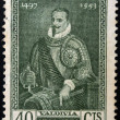 Stock Photo: CHILE - CIRC1941: stamp printed in Chile shows conqueror Pedro de Valdivia, circ1941