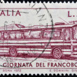 ITALY - CIRCA 1972: stamp printed in Italy shows bus, circa 1972 — Stock Photo