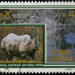 Stock Photo: NEPAL - CIRC1991: stamp printed in Nepal dedicated to royal chitwnational park, shows rhinoceros, circ1991