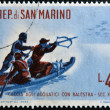 Stock Photo: SAN MARINO - CIRC1961: stamp printed in SMarino dedicated to hunting, shows waterfowl hunting with crossbow, circ1961