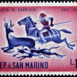Stock Photo: SAN MARINO - CIRC1961: stamp printed in SMarino dedicated to hunting, shows Hunting Roebuck, circ1961