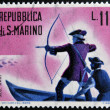 Stock Photo: SAN MARINO - CIRC1961: stamp printed in SMarino dedicated to hunting, shows hunt ducks, circ1961